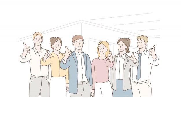 Concepto de negocio trabajo en equipo exitoso, socios. empleados con líderes mostrando los pulgares hacia arriba mirando a la cámara.