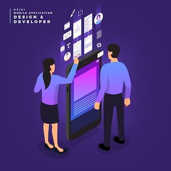 Concepto de negocio trabajo en equipo de personas que trabajan en diseño ui / ux