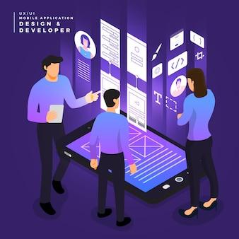 Concepto de negocio, trabajo en equipo de personas que trabajan en ui / ux design