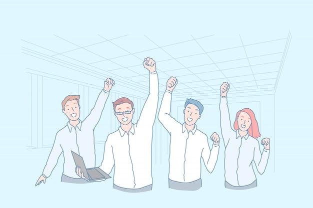 Concepto de negocio, trabajo en equipo, triunfo, logro, excelencia