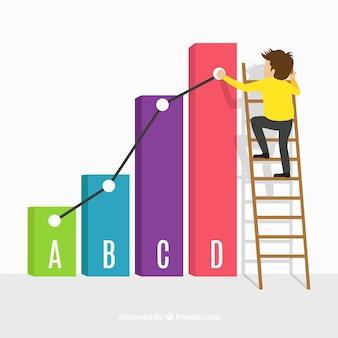 Concepto de negocios con barras coloridas