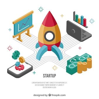 Concepto de negocios con cohete y elementos