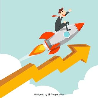 Concepto de negocios con cohete y flecha