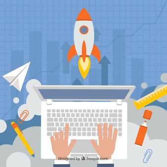 Concepto de negocios con cohete y portátil