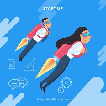 Concepto de negocios con gente de negocios usando jetpack