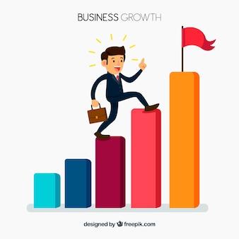 Concepto de negocios con hombre escalando barras