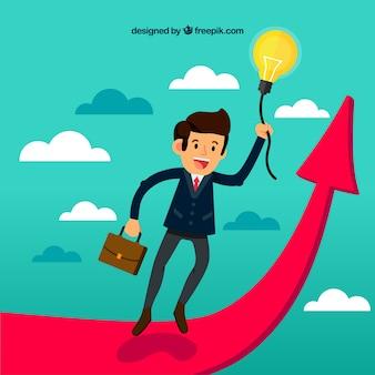 Concepto de negocios con hombre en flecha