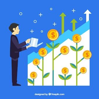 Concepto de negocios con hombre plantando monedas