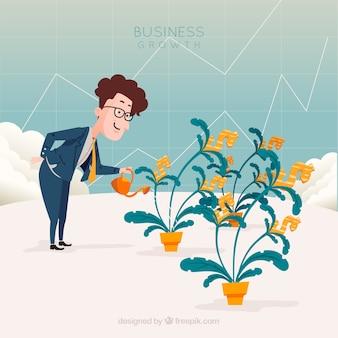 Concepto de negocios con hombre regando plantas