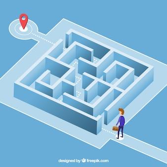 Concepto de negocios con laberinto cuadrado