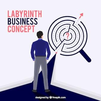 Concepto de negocios con laberinto de diseño plano