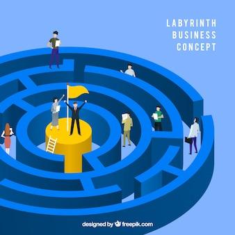 Concepto de negocios con laberinto diseño plano