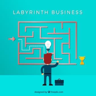 Concepto de negocios con laberinto de diso plano