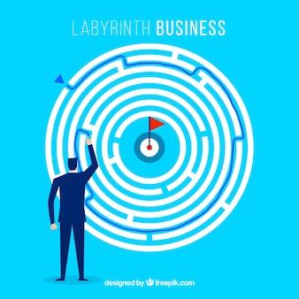 Concepto de negocios con laberinto redondo