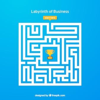 Concepto de negocios con laberinto y trabajador
