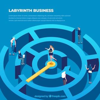 Concepto de negocios con laberinto en vista isométrica