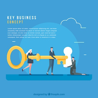 Concepto de negocios con llave de diseño plano