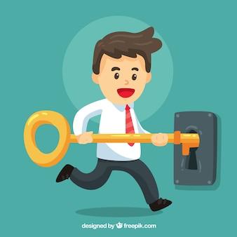 Concepto de negocios con llave para el éxito