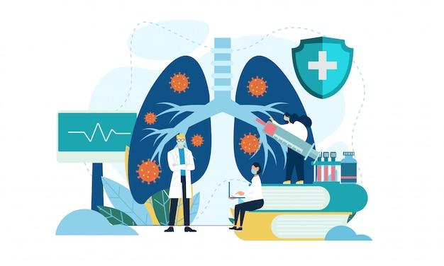 Concepto de neumología. pulmones personas sanitarias. ilustración plana
