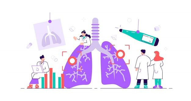 Concepto de neumología. pulmones personas sanitarias. verificación de inspección interna de órganos para detectar enfermedades, enfermedades o problemas. examen y tratamiento del sistema respiratorio abstracto. ilustración pequeña y plana