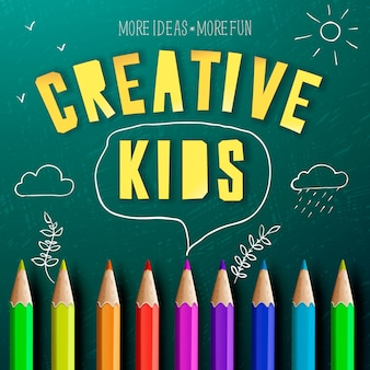 Concepto de niños creativos, educación creativa, lápices de colores y garabatos de dibujo de tiza.