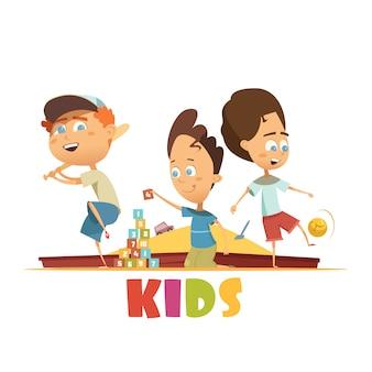 Concepto de los niños jugando con ladrillos de béisbol y dibujos animados de símbolos de fútbol vector ilustración