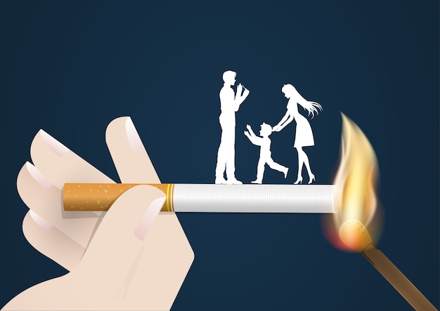 Concepto de no fumar en el mundo del día, el encendedor de cigarrillos peligro de su esposa y su hijo mismo despedido quemar el