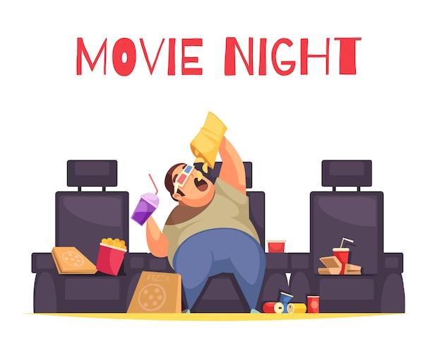 Concepto de noche de cine con glotonería y símbolos de comer en exceso plana