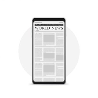 Concepto de noticias digitales con periódico de negocios en la pantalla smartphone, icono aislado en blanco.