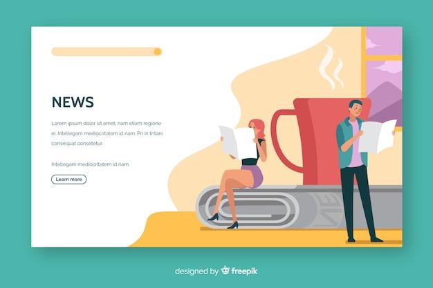 Concepto de noticias landing page diseño plano
