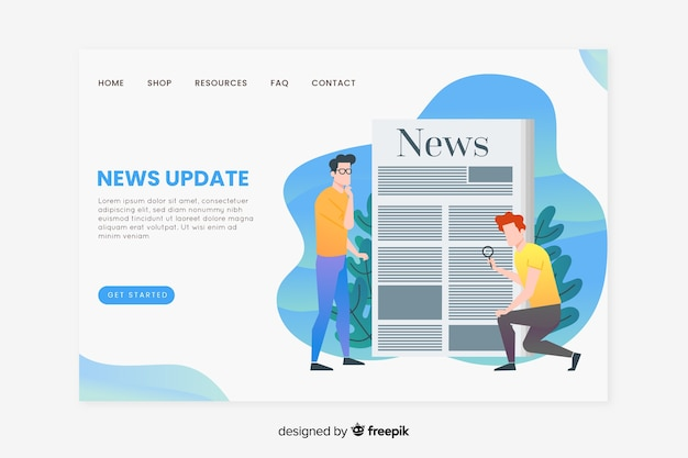 Concepto de noticias para landing page