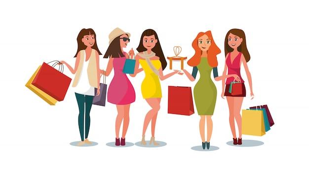 El concepto de novias comprando en la tienda de estilo