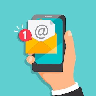 Concepto de nueva carta que llega al correo electrónico