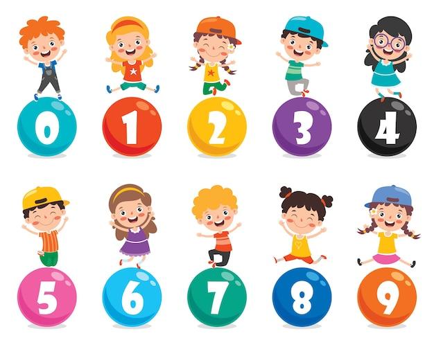 Concepto de números multicolores