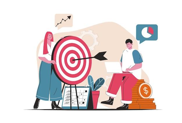 Concepto de objetivo empresarial aislado. consecución de objetivos, análisis de datos, enfoque en la audiencia. escena de personas en diseño plano de dibujos animados. ilustración vectorial para blogs, sitios web, aplicaciones móviles, materiales promocionales.