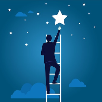 Concepto de objetivo empresarial. escalera de escalar, llegar a estrella