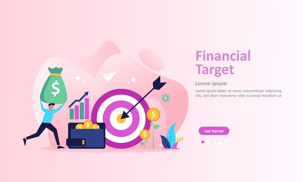 Concepto de objetivo financiero, gráfico creciente y meta de éxito página de destino