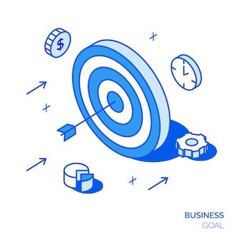 Concepto de objetivo de negocio isométrico