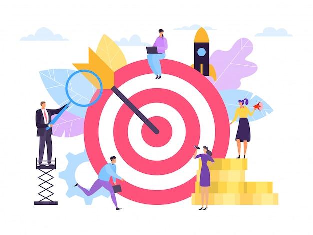 Concepto de objetivo de negocio, trabajo en equipo exitoso, ilustración. hombre mujer personaje cerca de gran objetivo de dibujos animados con flecha