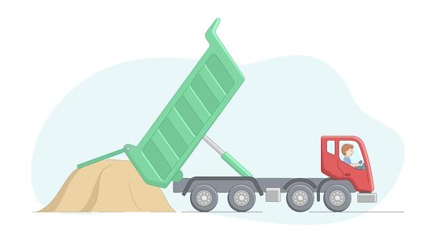 Concepto de obras de construcción y trabajo pesado. trabajador en camión volquete descarga arena. trabajos de operador de maquinaria de construcción. personaje masculino en el lugar de trabajo.