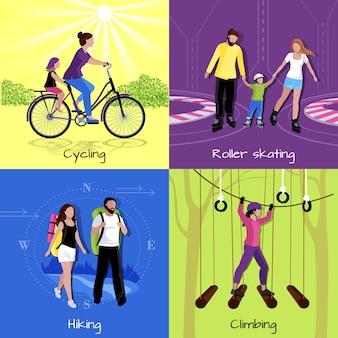 Concepto de ocio activo con diferentes recreaciones y actividades.