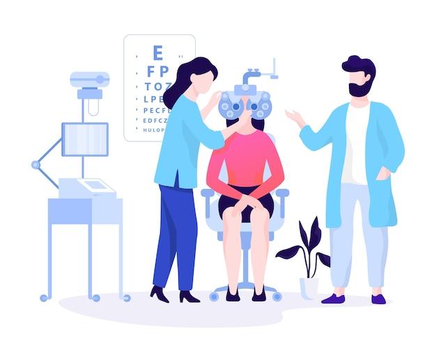 Concepto de oculista. idea de examen de la vista y tratamiento médico. oftalmólogo revisa al paciente. ilustración