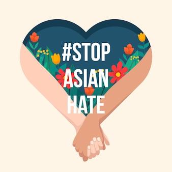 Concepto de odio asiático de parada plana ilustrado