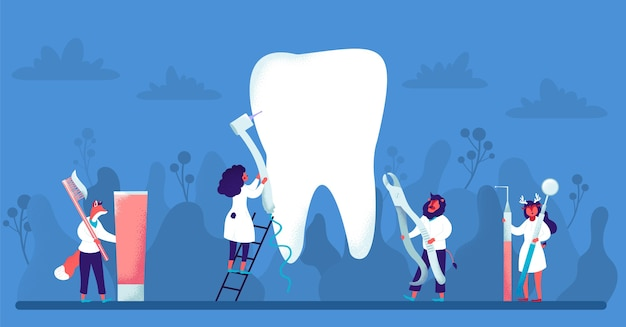 Concepto de odontología con personas de carácter animal sobre fondo azul. conjunto de instrumentos dentales.
