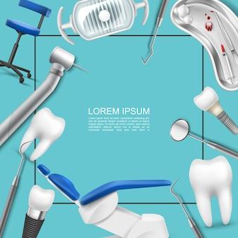 Concepto de odontología profesional realista con marco para lámpara de texto, implante dental, instrumentos estomatológicos, silla médica, máquina de dientes, bandeja de jeringa, bolas de algodón