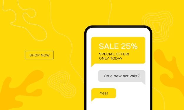 Concepto de oferta de venta para móviles. gran venta en telefonía móvil para marketing online con messenger.