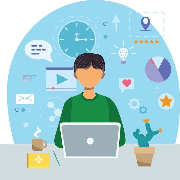 Concepto de oficina en casa, hombre trabajando desde casa. hombre con laptop, educación o concepto de trabajo. oficina en casa durante el concepto de brote de coronavirus.