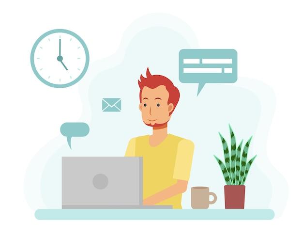 Concepto de oficina en casa, hombre trabajando desde casa con ordenador portátil. personaje de dibujos animados plano