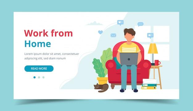 Concepto de oficina en casa, hombre trabajando desde casa sentado en una silla, estudiante o profesional independiente.