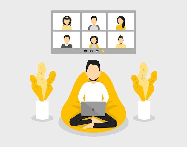 Concepto de oficina en casa hombre trabajando desde casa videoconferencia de estudiantes
